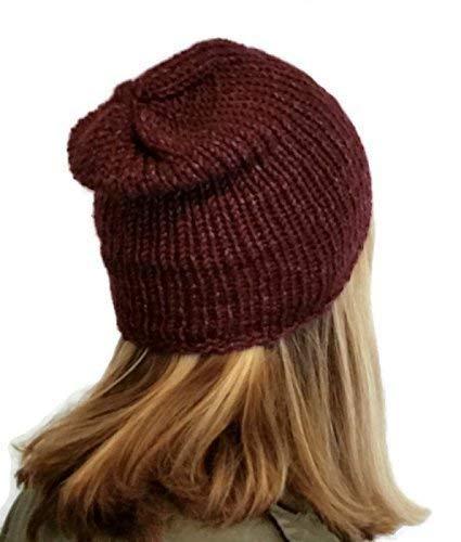a56c365af05c6 Amazon.com  Mens Lightweight Handmade Burgundy Alpaca Silk Slouchy Beanie  Hat  Handmade