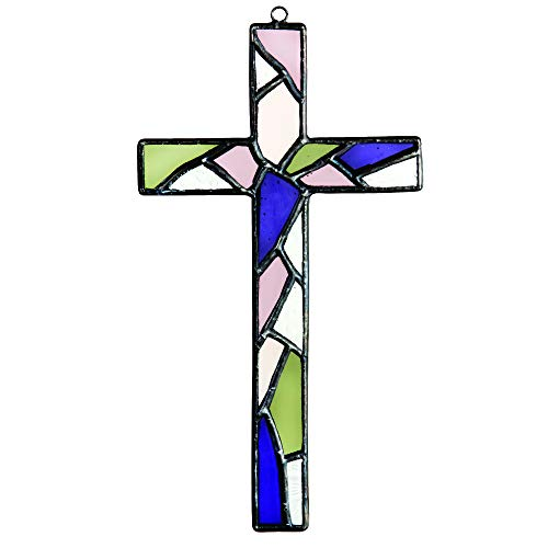(J Devlin ORN 222 Stained Glass Mosaic Cross Ornament Purple, Moss Green and Pink Rose and Blush)