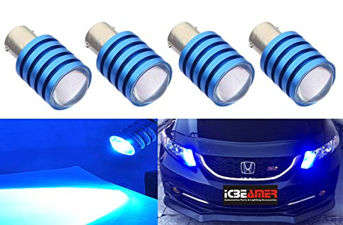 ICBEAMER 4 pcs BAY15d 1157 1158 1493 2057 2357 2397 7528 LED Replace Turn Signal incandesce Light Bulbs [Color: Blue] - Mitsubishi Mirage Signal Light