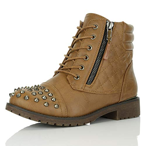 DailyShoes Women's Military Lace Up Buckle Combat Boots Ankle High Exclusive Credit Card Pocket Frontal Metal Stud Hiking Booties, Tan PU, 8.5 B(M) US
