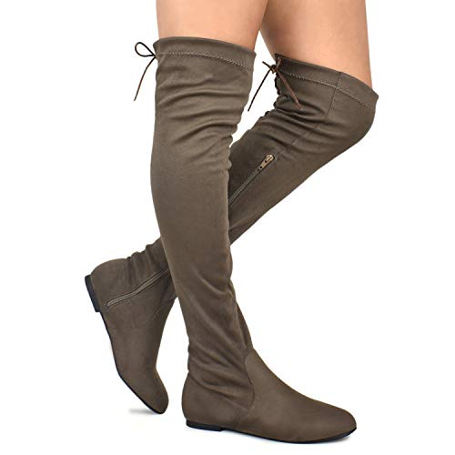 (Premier Standard - Women's Fashion Comfy Vegan Suede Side Zipper Over Knee High Boots, TPS Boots-04Eikciv Taupe Su Size 7)