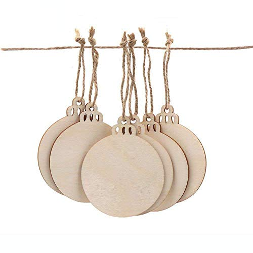 Aytai 50pcs Round Wood Slices with Twines, DIY Crafts Unfinished Wooden Christmas Ornaments, Blank Wood Discs to Paint for Rustic Christmas Hanging -
