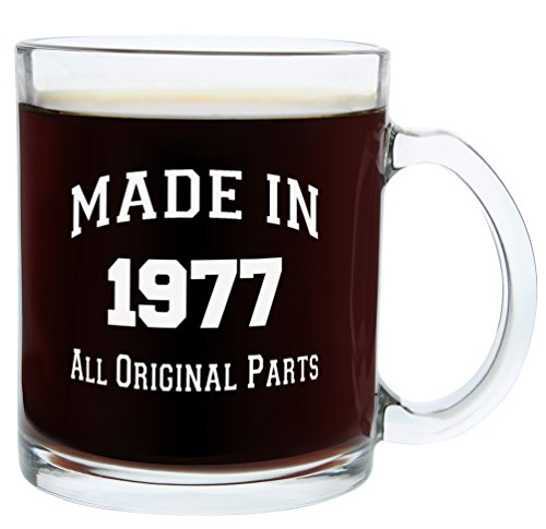 40th Birthday Gifts for Women or Men Made 1977 40th Birthday Gift Ideas Gift Glass Coffee Mug Tea Cup (Glass Centerpieces Ideas)