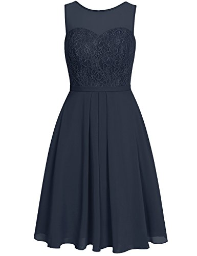 Lace Wedding Formal Evening Chiffon Navy Dress Short Gowns Length Bridesmaid Knee Cdress Prom Dresses dw0qnI8