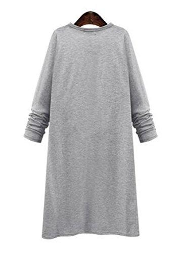 Baggy Color Tops Abrigos Largo Sencillos Outwear Cardigan Mujer Coat Tayaho Manga SÓLido gris Abrigos Larga Ligero Ocasionales 0xPfWndT1