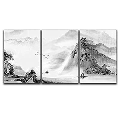Top Quality Design, Grand Piece of Art, 3 Panel Chinese Ink Painting Style Mountain and River x 3 Panels
