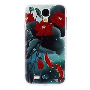 Flores de loto y Goldfishes caso duro del patrón para Samsung i9500 Galaxy S4