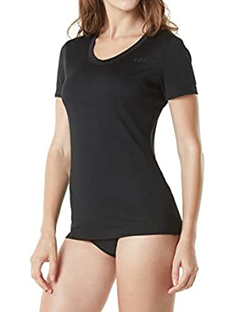 TESLA Women's UPF 50+ Swimshirt Short Sleeve Rashguard Top Loose-Fit FSS02-BLK