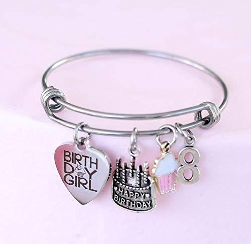 8th Birthday Girl Gift Idea Charm Bangle Bracelet, Daughter, Granddaughter with Enamel Cupcake -