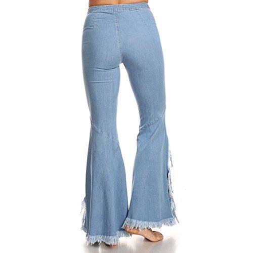 DContractE Jeans DChir Pantalon Denim Vas Pantalon AsymTrique Loose Casual LANMWORN Femmes en Haute Bleu IrrGulier Taille Clair Bleu Trou Style Gland Large DTruit TYqWIwSvZ