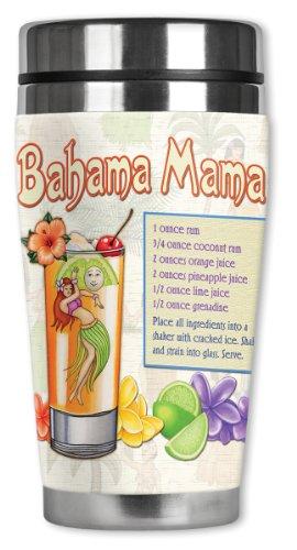 Mugzie Bahama Mama Travel Mug with Insulated Wetsuit Cover, 16 oz, Black