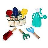 Gartentasche für Kinder ab 3 Jahren, mit 5 Gartenwerkzeugen sowie 1 Gießkanne mit Sprühkopf, inkl. praktischem Tragegriff
