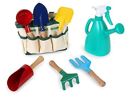 small foot 1710 Spielwerkzeuge für den Garten / Strand, 6 Werkzeuge und Gießkanne in Tragetasche, ab 3 Jahren
