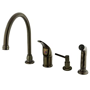 Kingston Brass KB825K5 Chatham Single Lever Handle Kitchen Faucet with Sprayer and Soap Dispenser, 9-Inch, Oil Rubbed Bronze