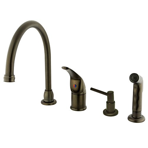 Manhattan Soap (Kingston Brass KB825K5 Chatham Single Lever Handle Kitchen Faucet with Sprayer and Soap Dispenser, 9