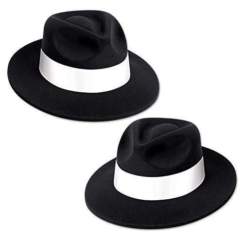 (Club Pack of 25 Black 20's Velour Fedora with White Band 5
