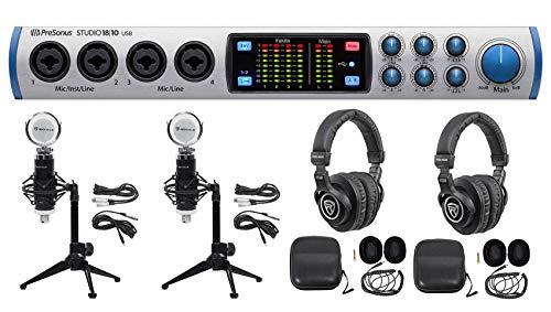 (Presonus 2-Person Podcast Podcasting Kit STUDIO 1810 Interface+Mics+Desk Stands)