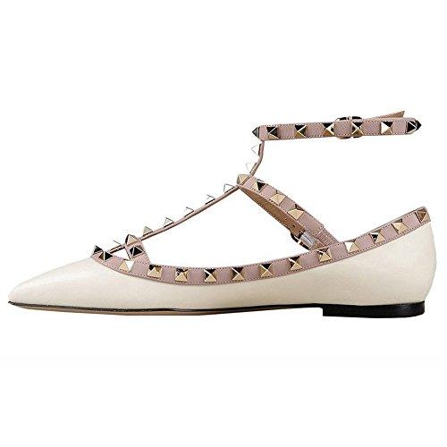 Merumote Femmes Appartements Avec Double Boucle Mode Sexy Rivets Rockstud Quotidienne Bout Pointu Baller Chaussures Mat-blanc