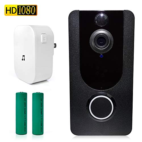 HiView Wireless Doorbell WiFi Smart Video Doorbell Camera 1080P HD Smart Home Security Camera Doorbell with Ring Chime,Night Vision,7 Days Free Cloud Service(Batteries Included)