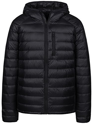 Wantdo Men's Packable Insulated Light Weight Hooded Puffer Down Jacket(Black,XL)