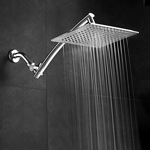 ( Razor Mega Size 9-inch Chrome Face Rainfall Shower with 15-inch Extension Arm (Square))
