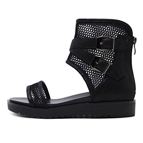 Zapato Inferior Cinturón De Sandalias Mujeres Black Confortables Grueso Verano Abierto EFxqw7O