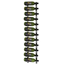 VintageView 12 Bottle Wall Mounted Metal Wine Rack (1 Deep - Black Pearl Plated Finish)