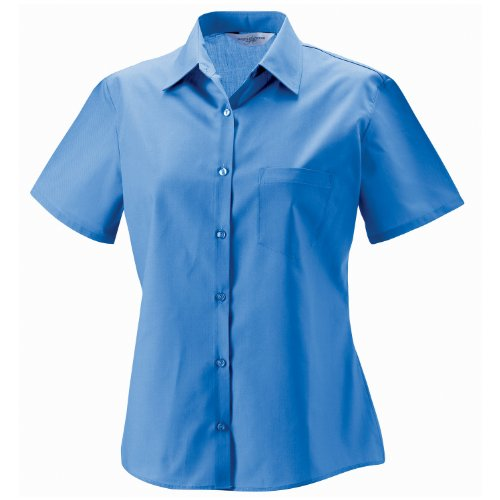 Russell Collection Damen Kurz Ärmel Polycotton Easycare Popeline Shirt Corporate blau XS
