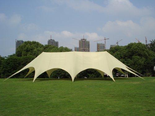 CLP stabiles & hochwertiges XXL Sternzelt, Grundfläche 14 x 25 m, inklusive Tragetasche, leicht aufzubauen creme