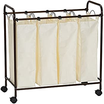 Household Essentials 7173 Rolling Quad Laundry Sorter with Removable Hamper Bags   Antique Bronze Frame