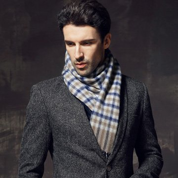Plaid winter man thickening wool scarf cashmere scarf by KYXXLD