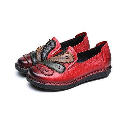 XUE Damenschuhe Leder Frühjahr/Herbst Loafers & Slip-Ons National Stil Fahr Schuhe Wanderschuhe Office Party & Abend Atmungsaktiv (Farbe : C, Größe : 39) Ein