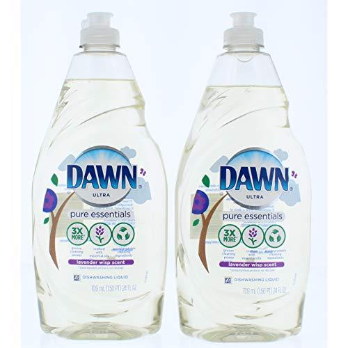 2 Pk. Dawn Pure Essentials Lavender Wisp Dishwashing Liquid Dish Soap 24 oz (48 Fl. Oz Total) (Dawn Dish Soap Lavender)