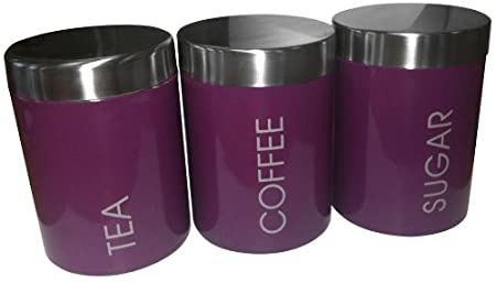Purple Enamel Tea Coffee And Sugar Storage Set Jars Canisters With Satin Stainless Steel Lid And Trim