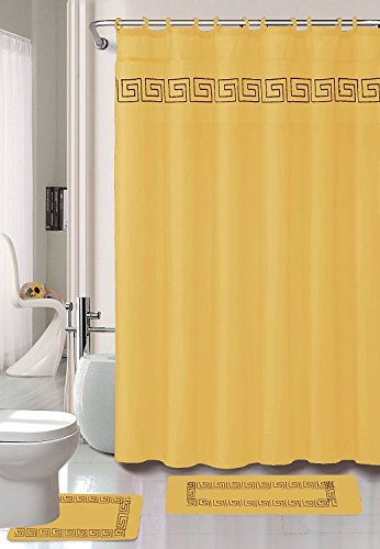 - Kashi Home 15 Piece Shower Curtain Set, Includes Curtain, Hooks and 2 Rugs, 70