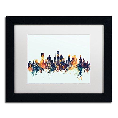MT1104-B1114MF Houston Texas Skyline Blue by Michael Tompsett, White Matte, Black Frame 11x14