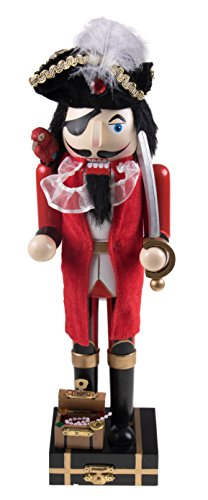 [Wooden Pirate Captain Nutcracker with Parrot and Sword - 14