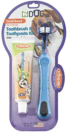 EZ Dog 3-Sided Toothbrush & Natural Toothpaste Kit for Small Dog Breeds in Vanilla Flavor | Dogs Love the Taste