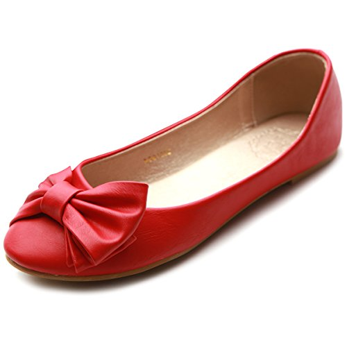 Womens Ribbon Accent - Ollio Women's Shoe Cute Ribbon Accent Ballet Flat (7 B(M) US, Red)