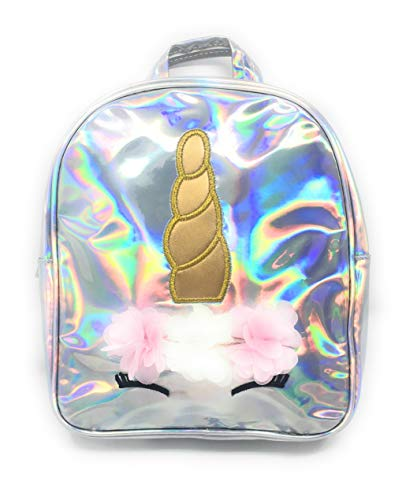 Handbag Girls Silver (Unicorn Mini Backpack for Girls, Teens & Toddlers: Holographic Cute Silver Small School Book Bag Purse Kids Daypack Satchel)