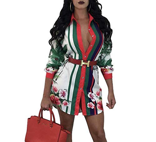 Remelon Womens Floral Birds Print Button Down Collar Long Shirt Dress Blouse Mini Dress White - Womens Dress Handbag