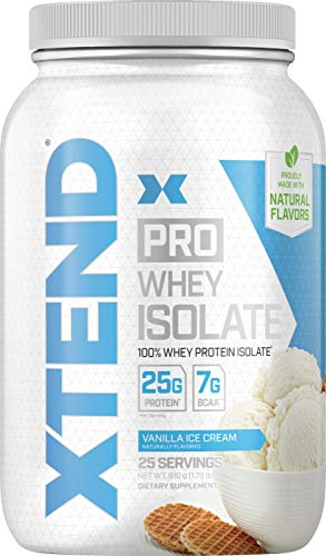 Scivation Xtend Pro, 100% Whey Protein Isolate Powder with BCAAs & Natural Flavors, Post Workout Recovery Drink, Gluten Free Low Carb Low Fat, Vanilla Ice Cream, 1.8 lbs