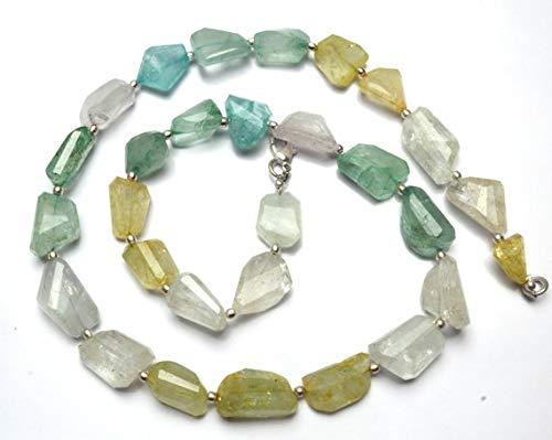KALISA GEMS Beads Gemstone 1 Strand Natural Multicolor Aquamarine Facet Nugget Beads 20