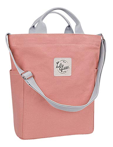Lily Queen Women Canvas Tote Handbags Casual Shoulder Bag purse Crossbody (Almond Pink)