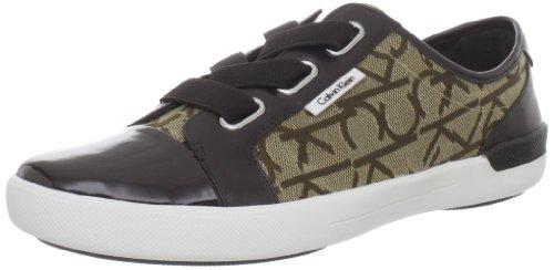 Calvin Klein Women's Trinah Jacquard Fashion Sneaker,Khaki/Dark Brown,6 M US