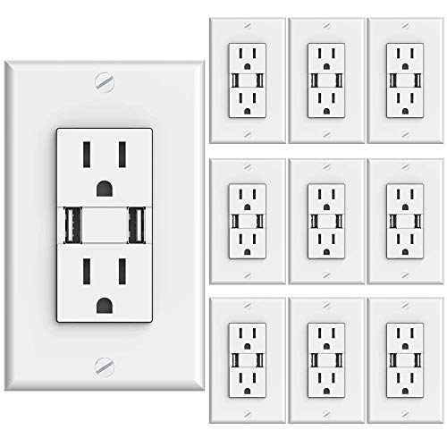 Sunco Lighting 10 PACK - UL Listed- High Speed USB Port Charger and Duplex Receptacle 15-Amp, 3.1A Charging Capability, Tamper Resistant Outlet- Wall-plate Included