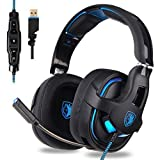 Choyur SADES PC Gaming Headset, 7.1 Surround Stereo Sound R15 USB Computer Gaming Headset 53mm Drivers with Microphone,Over-The-Ear Noise Isolating,Breathing LED Light Compatible Mac, Laptop,PC Gamers