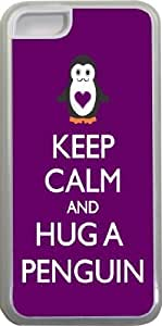 Rikki KnightTM Keep Calm and Hug a Penguin Purple Color Design iPhone 5c Case Cover (Clear Rubber with bumper protection) for Apple iPhone 5c