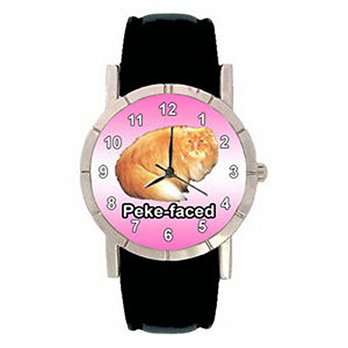 JWL1010 Peke Faced Kitten Cat Men Lady Genuine Leather Quartz Movement - Round Cats Faced