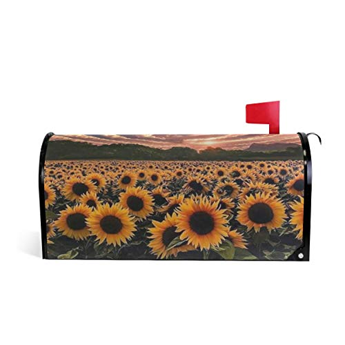 WOOR Cactus Sunflowers Magnetic Mailbox Cover MailWraps Garden Yard Home Decor for Outside Standard Size-18